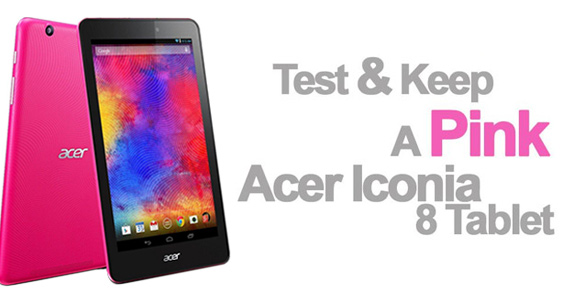 Test And Keep a Pink Acer Iconia 8 Tablet