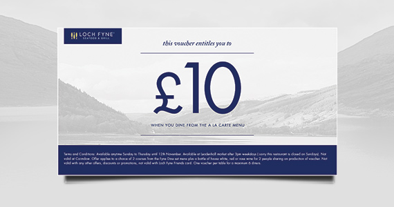 Sign Up with Loch Fyne to Get a Free £10 Voucher