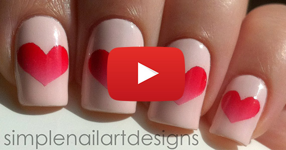 Valentine's Day Heart Nail Art Tutorial