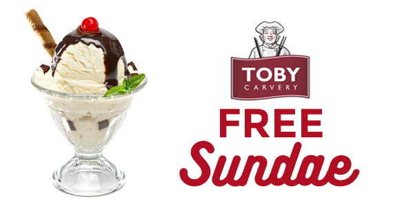 Free Ice Cream Sundae from Toby Carvery