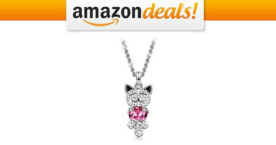 Save £78 on this Lucky Cat Pink Swarovski Necklace