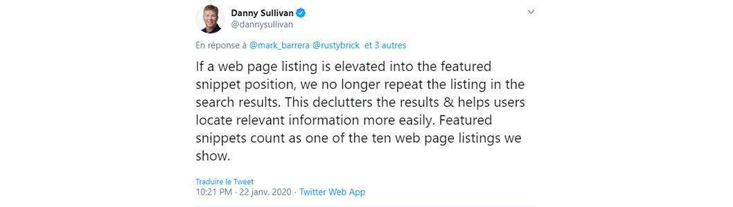 tweet danny sullivan Google featured snippet