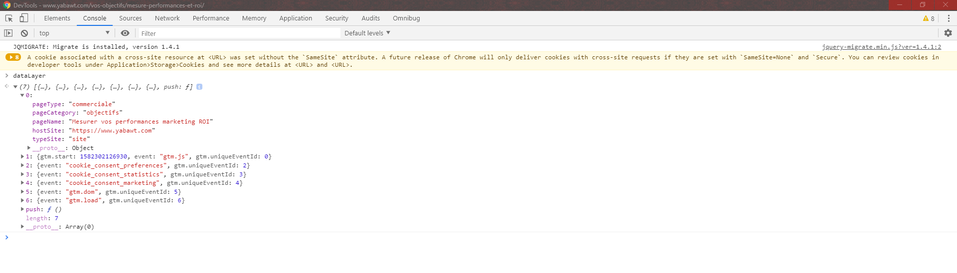 Exemple catégorisation pages