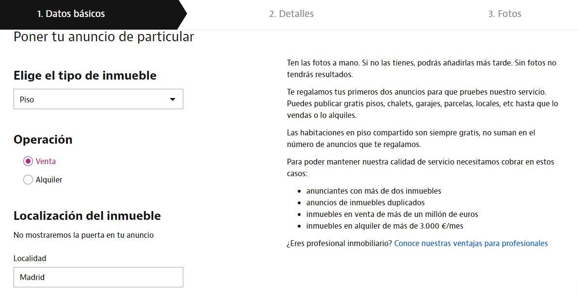 Portal de Idealista para publicar anuncio