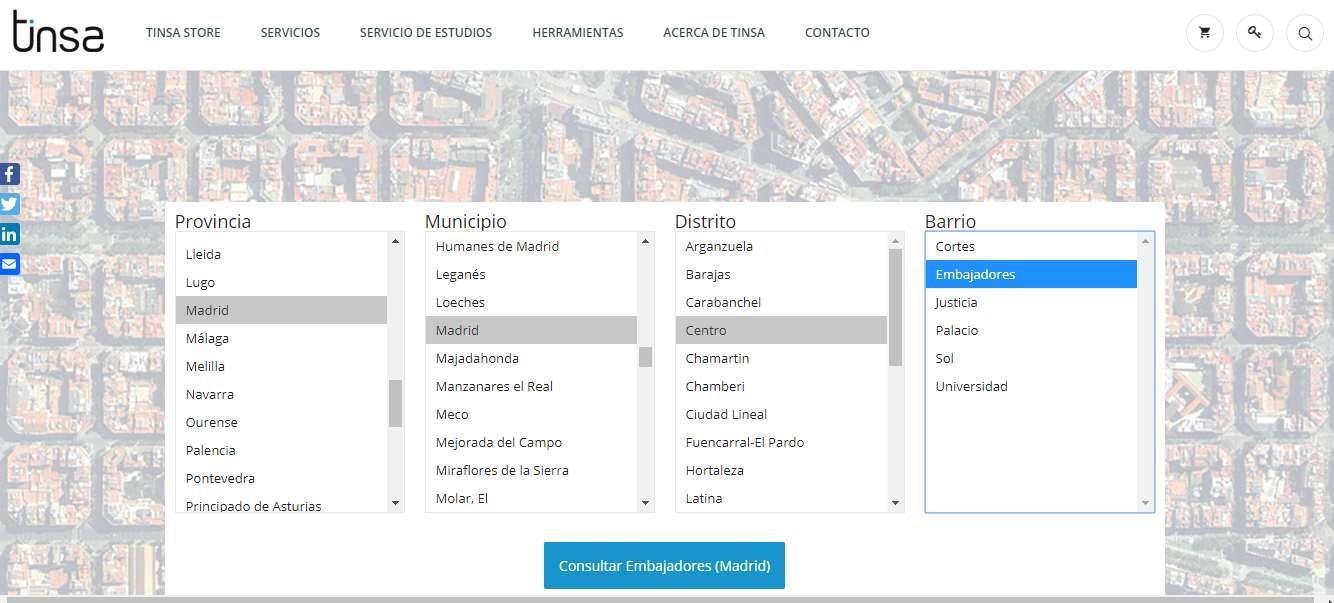 Web de Tinsa para tasación online
