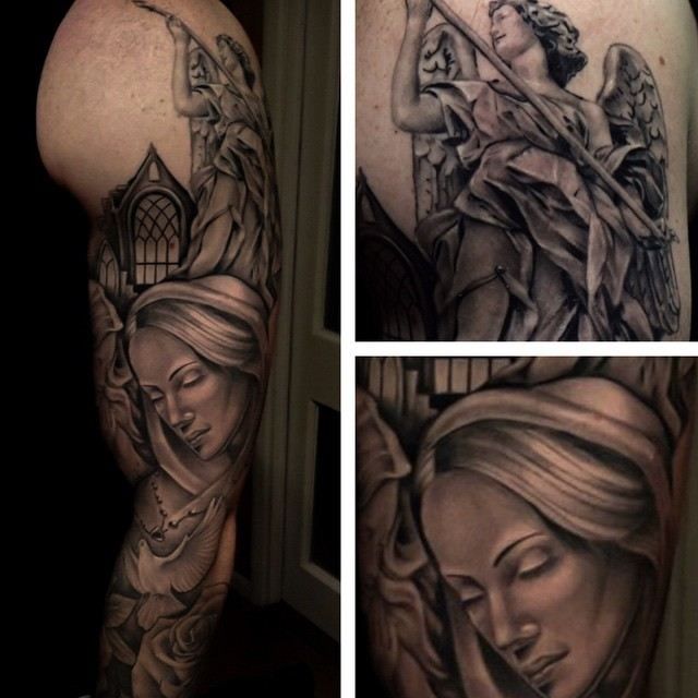 Angel tattoo with Mother Mary by Jordan Baker