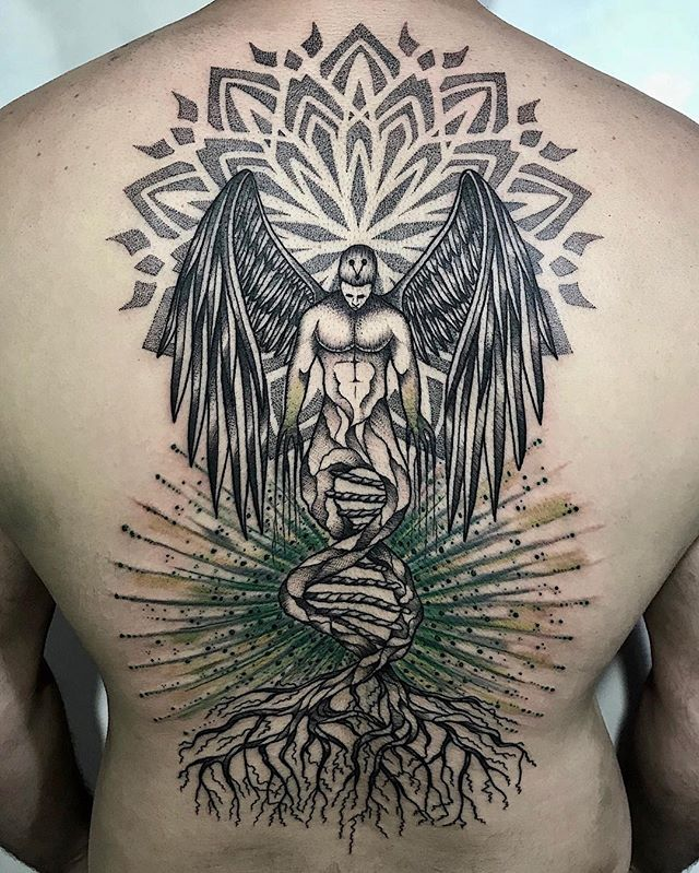 Angel tattoo with DNA by Rapha Lopes