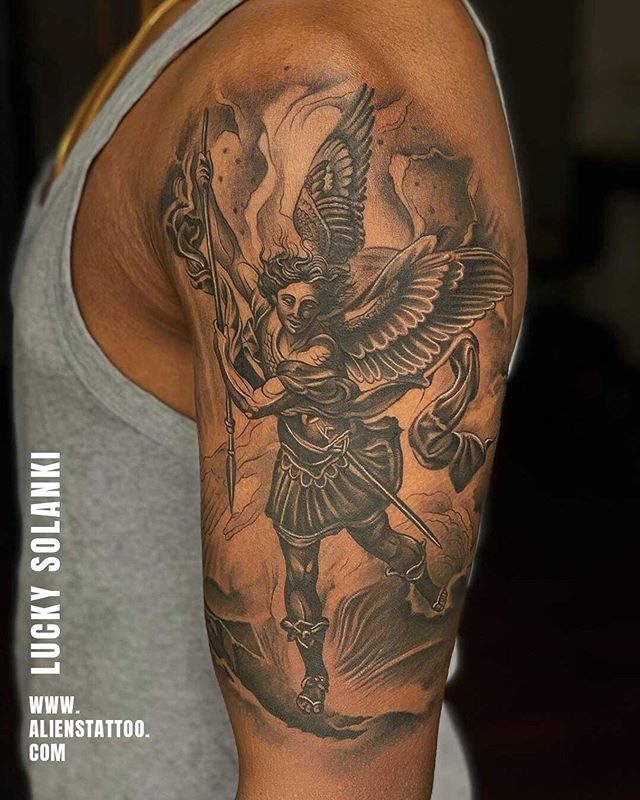 Angel tattoo of Archangel Michael by Lucky Solanki