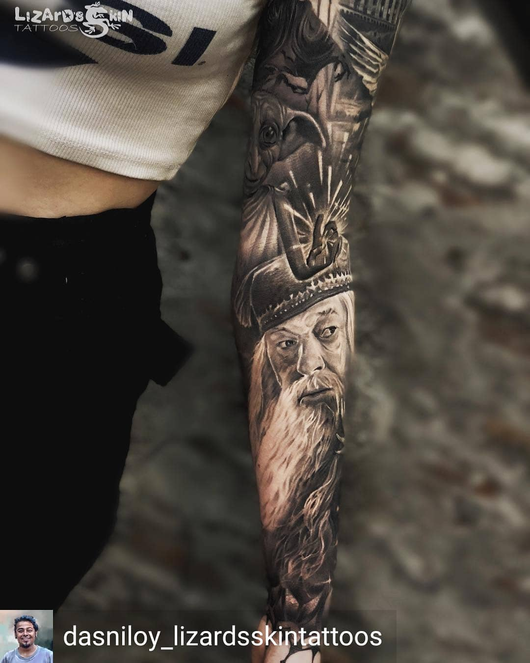 Book lovers tattoo of Dumbledor