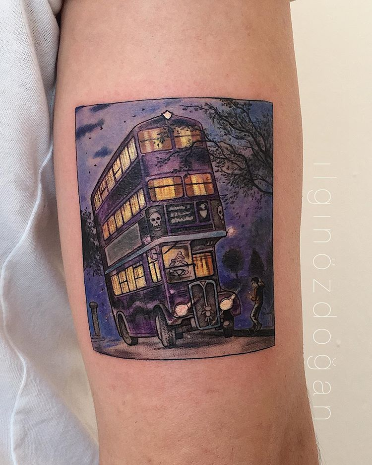 Book lovers tattoo of the bus from Harry Potter