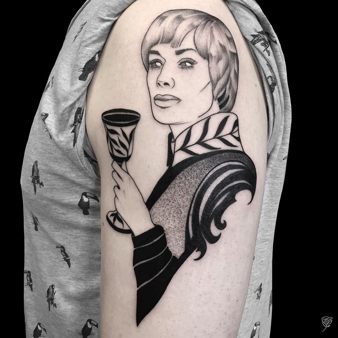 Book lovers tattoo of Cersei from Game of Thrones