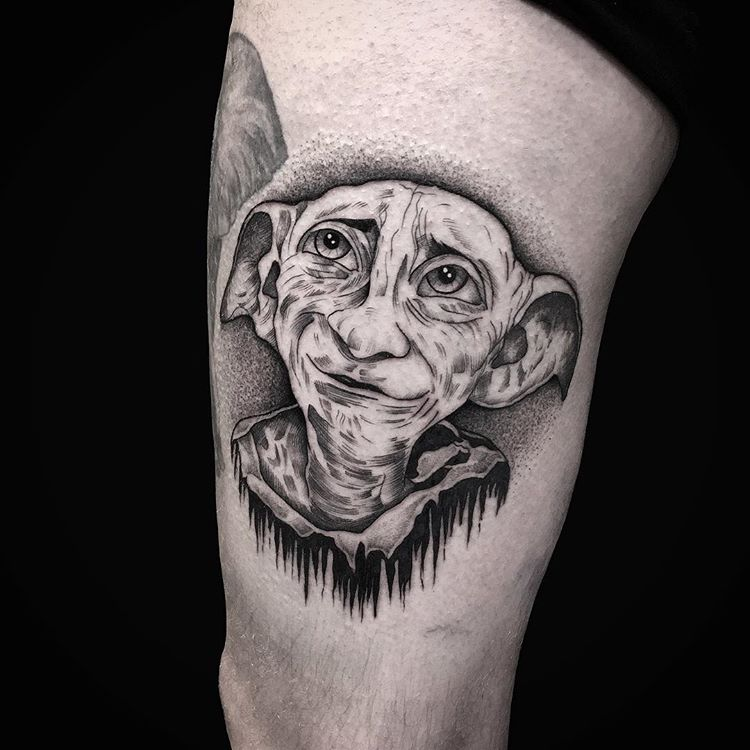 Book lovers tattoo of Dobby from Harry Potter