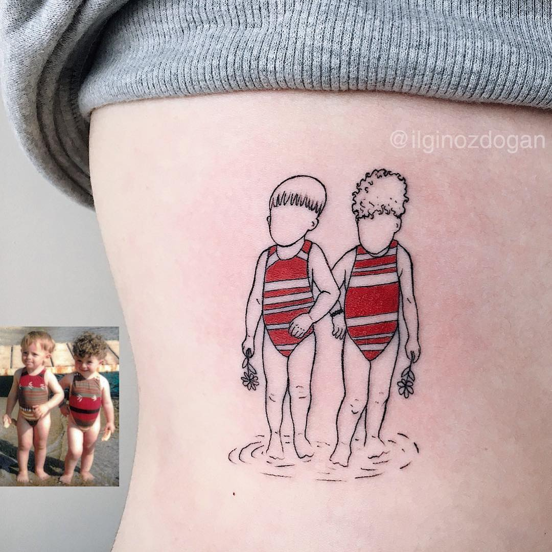 Linework family tattoo of siblings by Ilgin Ozdogan