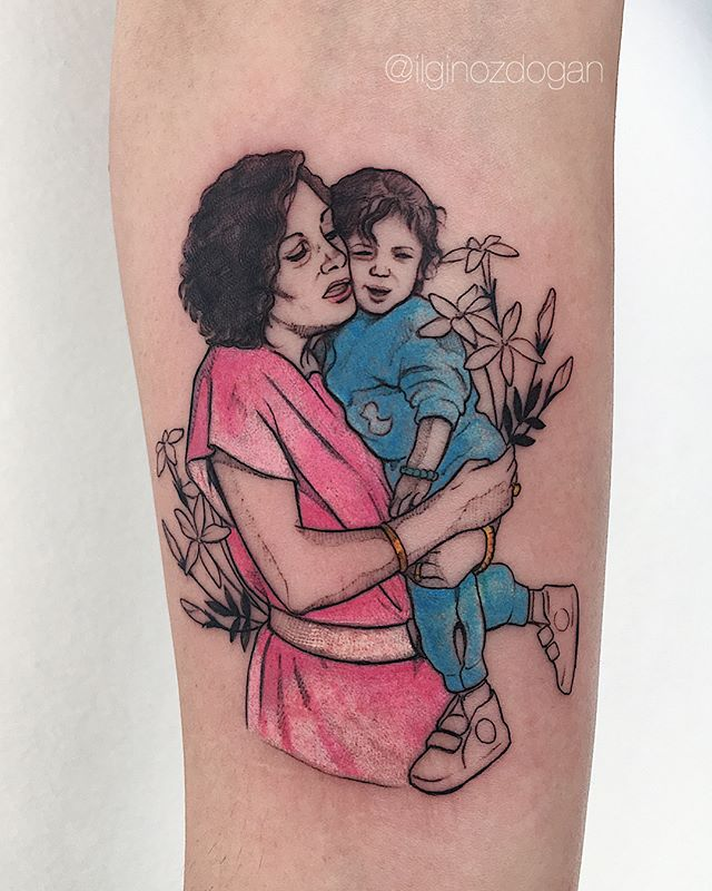 Illustrative family tattoo of mom or aunt and child by Ilgon Ozdogan