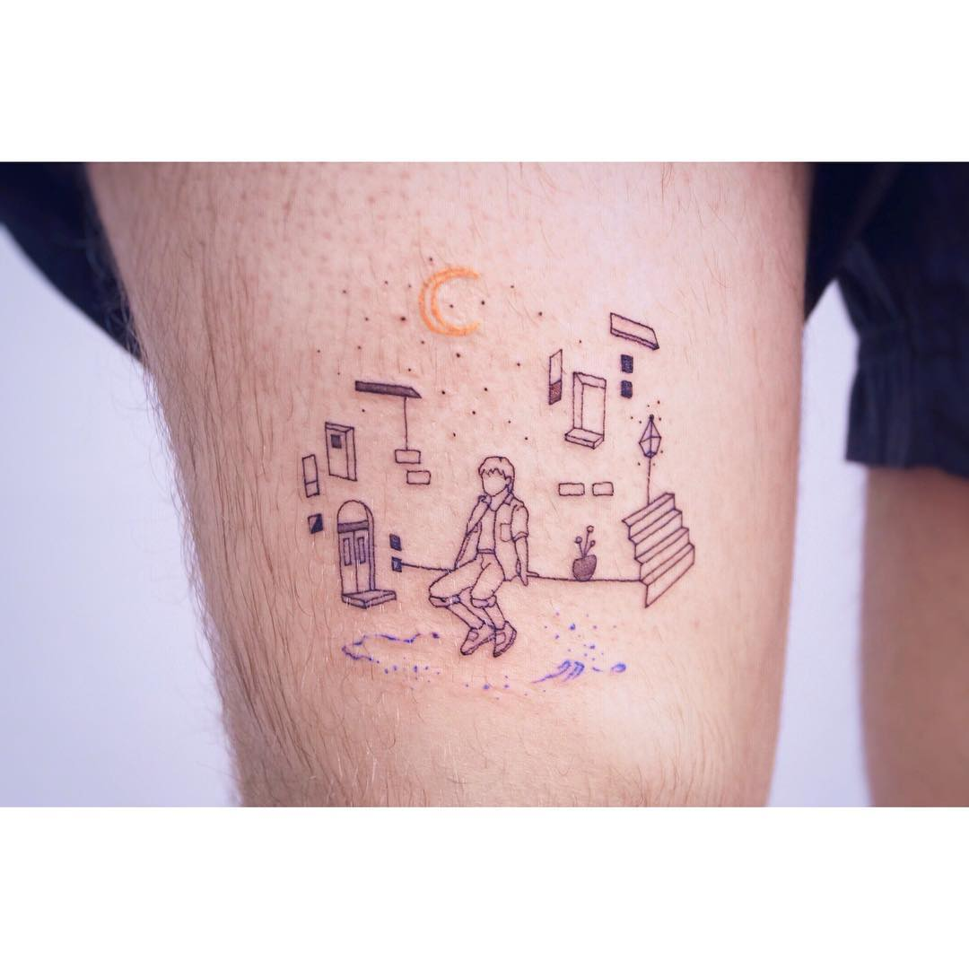 Family tattoo of childhood home from Nanal