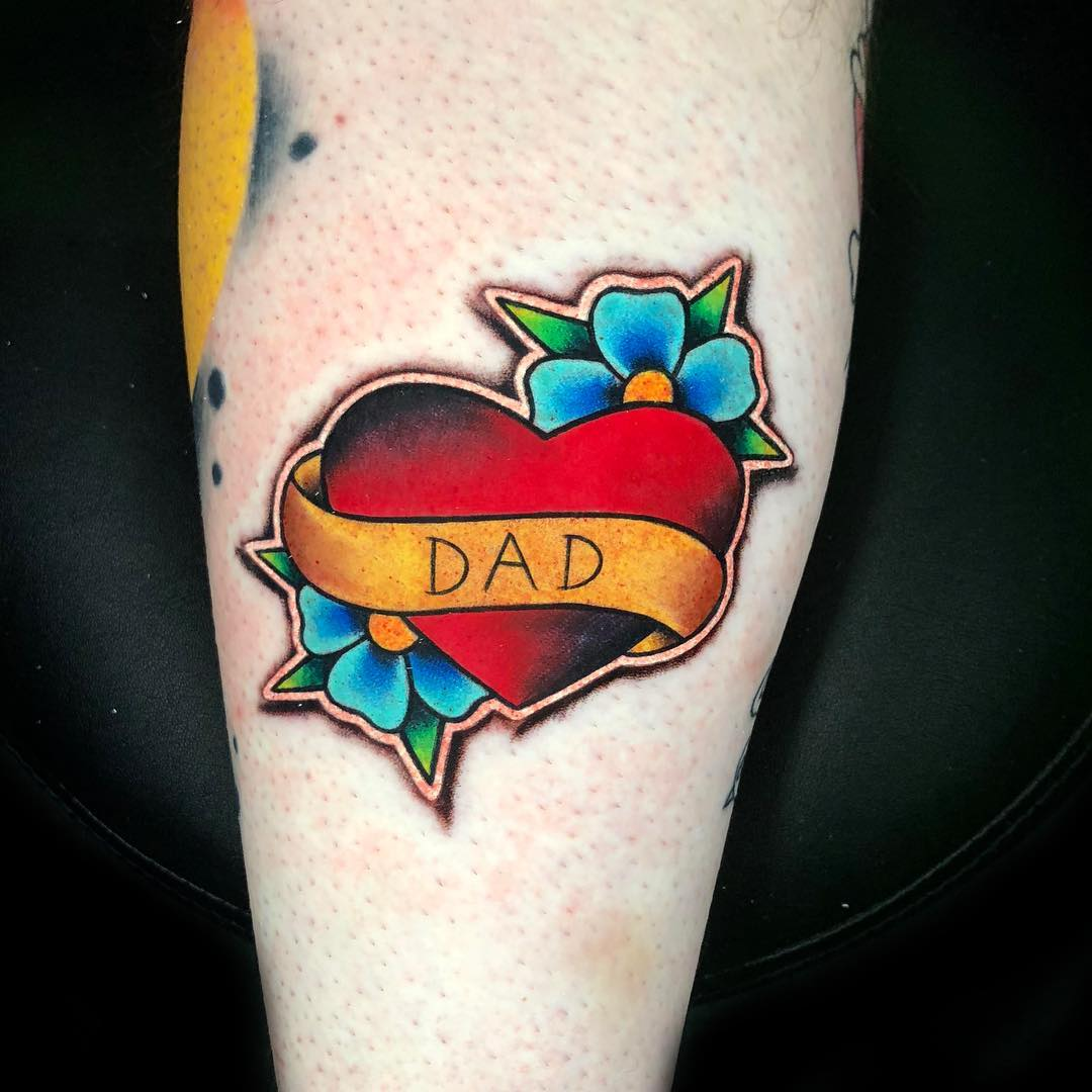 Family tattoo of a classic heart from Luke Cormier
