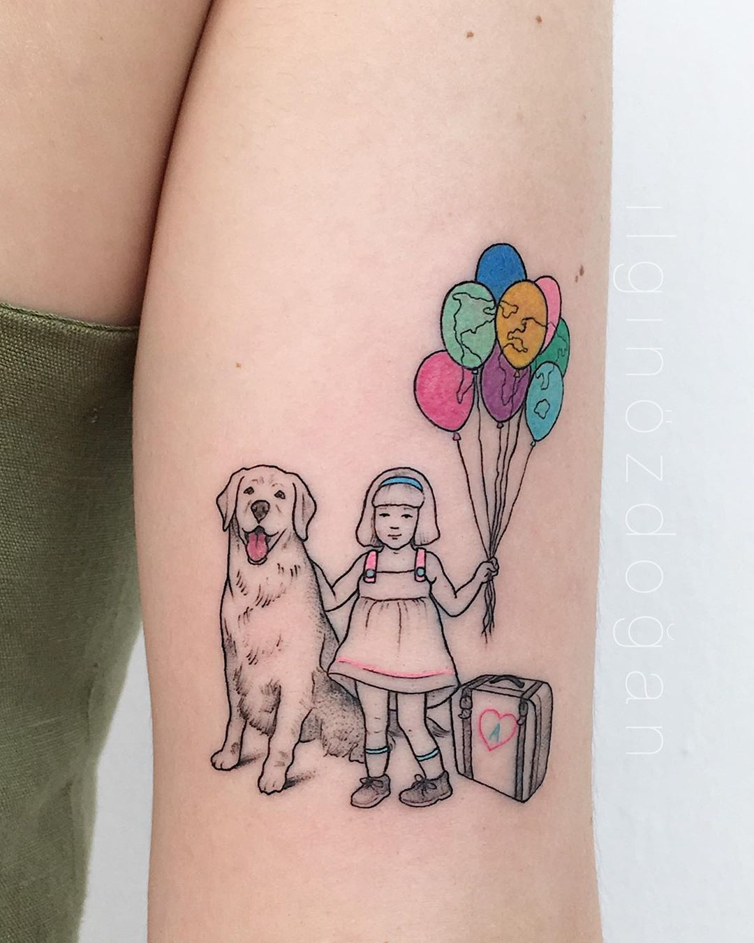 Linework family tattoo of a daughter and their dog by Ilgin Ozdogan