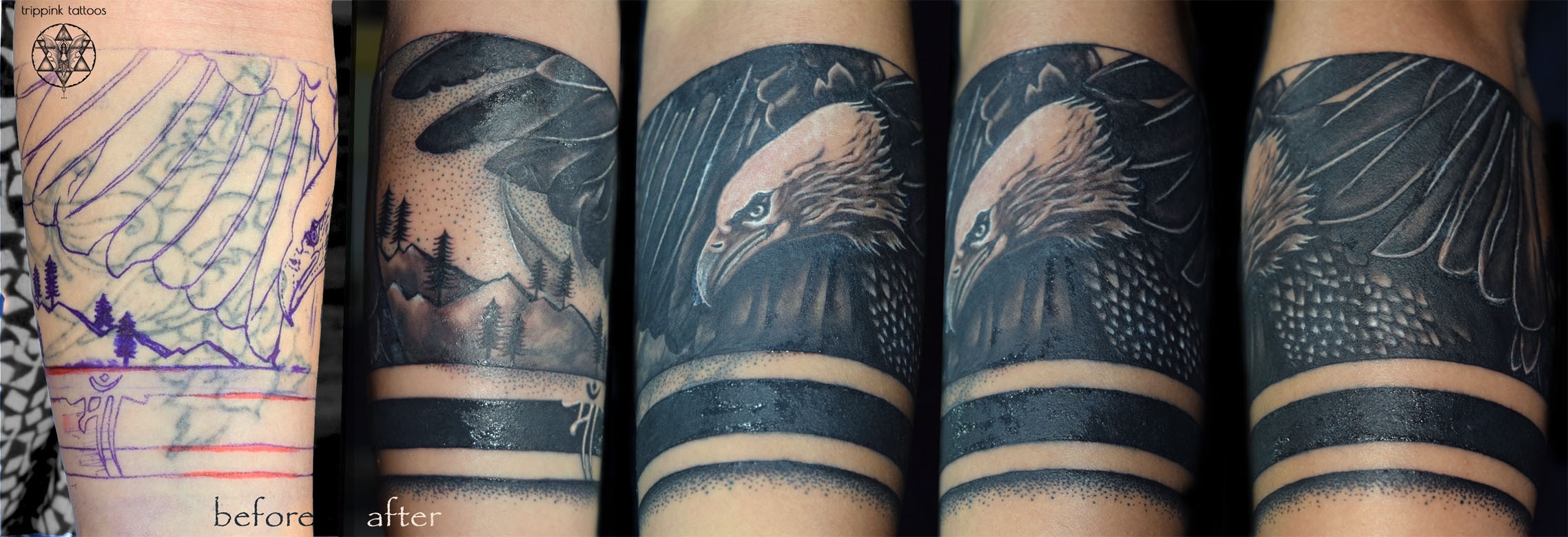 Eagle cover up tattoo from Trippink