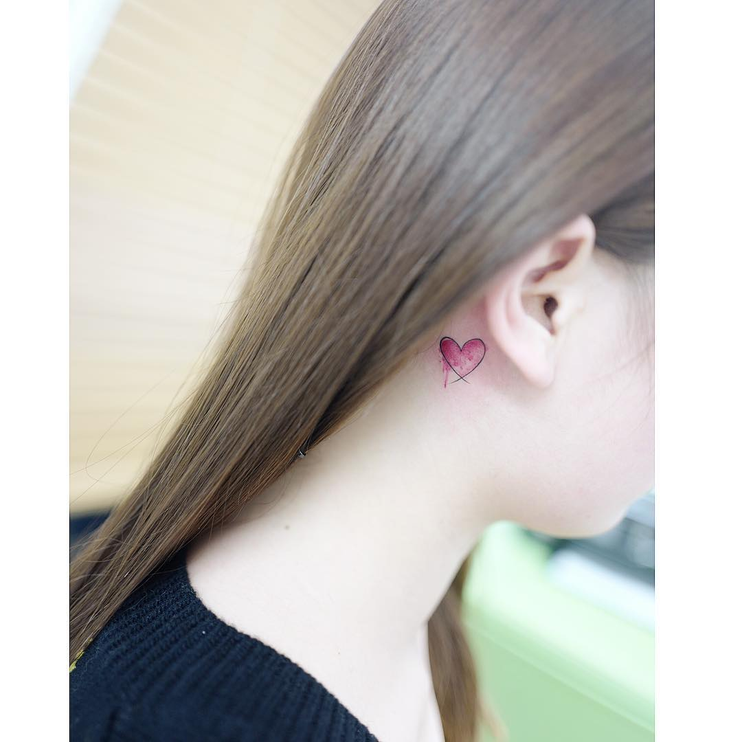 Heart tattoo behind ear by Banul