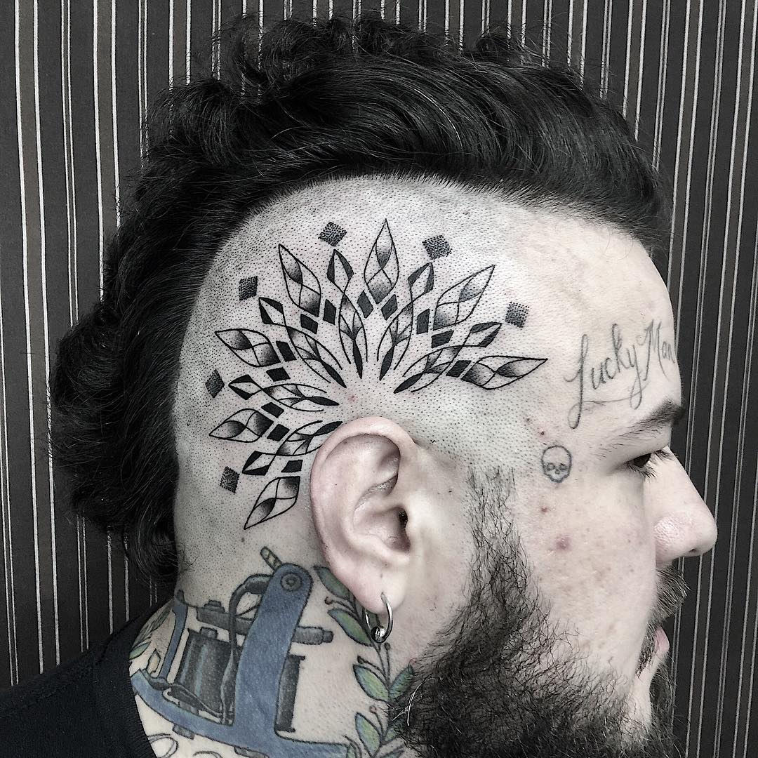 Mandala tattoo behind ear by Rapha Lopes