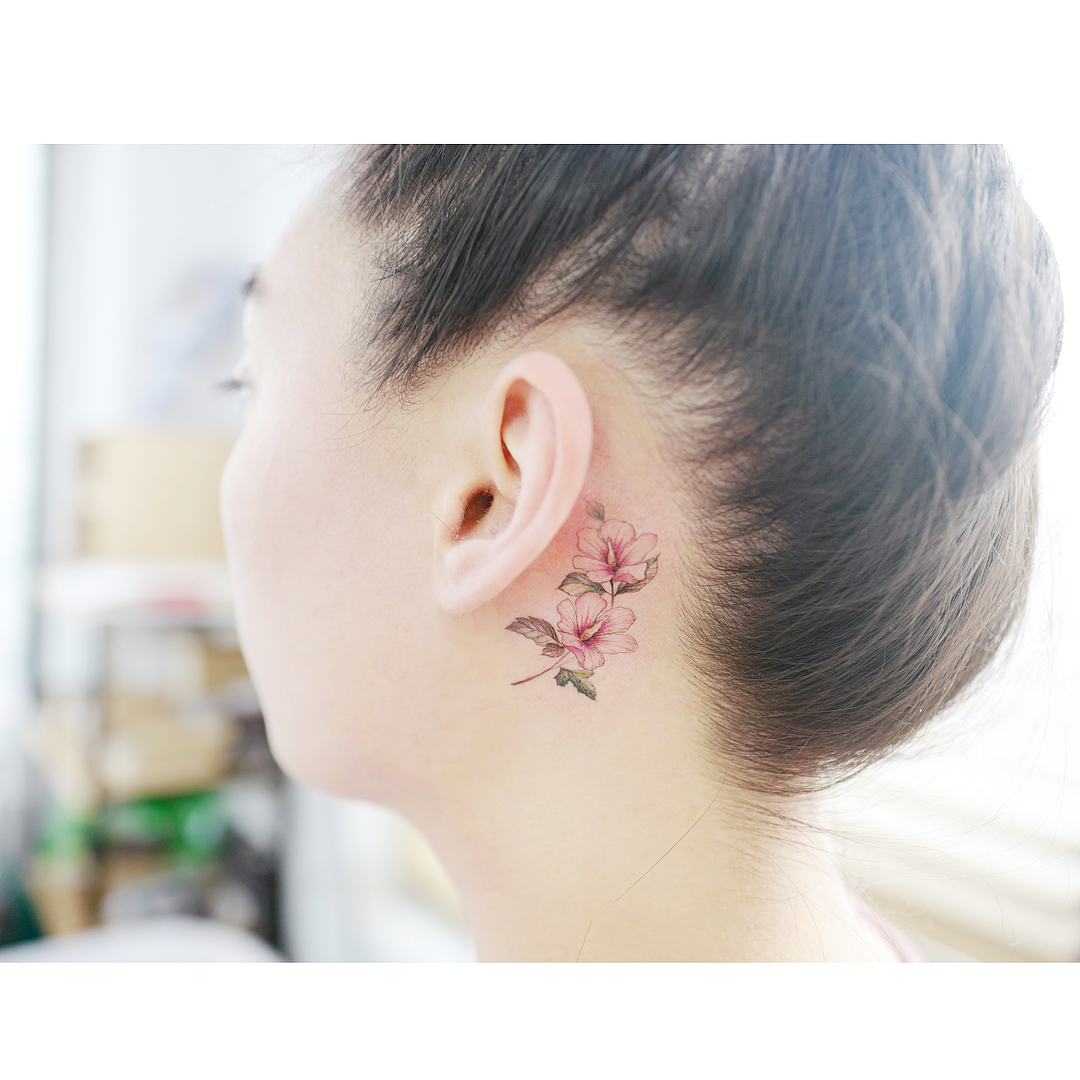 Tattoo behind ear by Banul