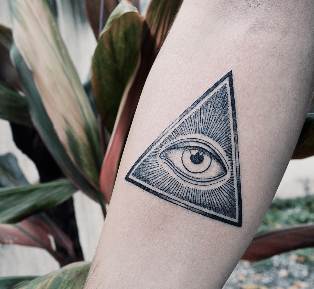 third eye tattoo design enclosed within a triangle