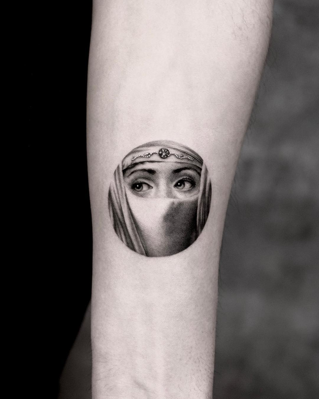Fornasetti eye tattoo by Tattooist Yeono