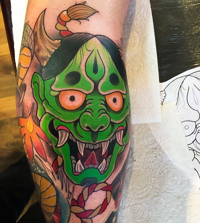 Japanese hannya mask tattoo by Jordan Baker