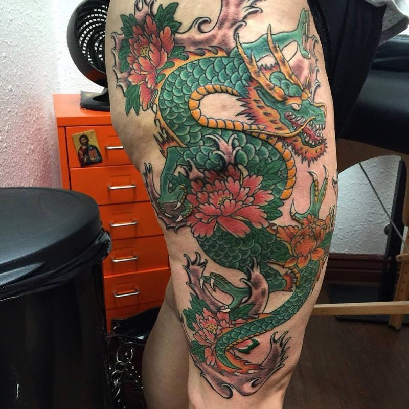 Japanese tattoo of a dragon by Emerald Tattoo Studio