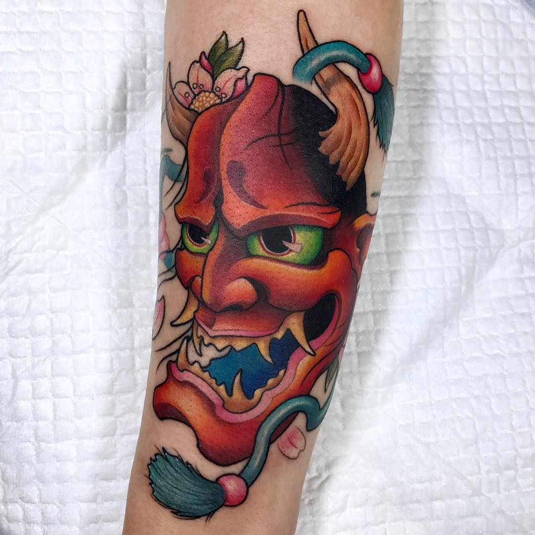 Japanese hannya mask tattoo by Yeono