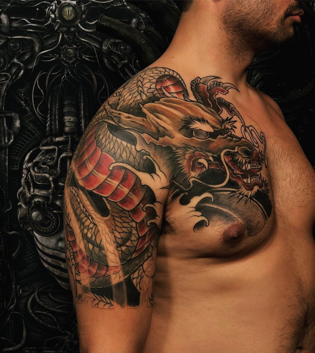 Japanese tattoo of a dragon by Niloy Das