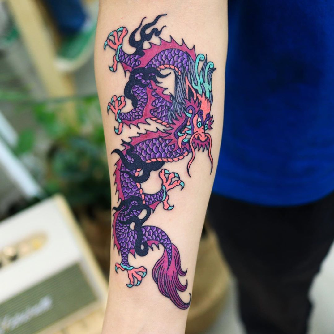 Japanese dragon tattoo in the new school style by puff_channel
