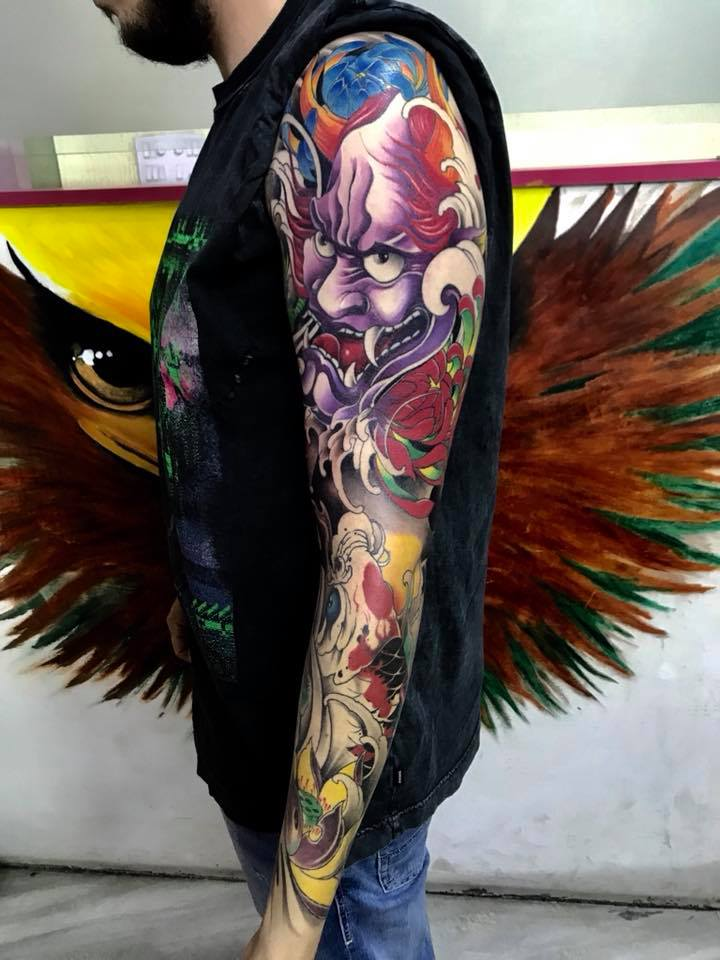 Japanese tattoo of Hannya mask by Irezumi studio