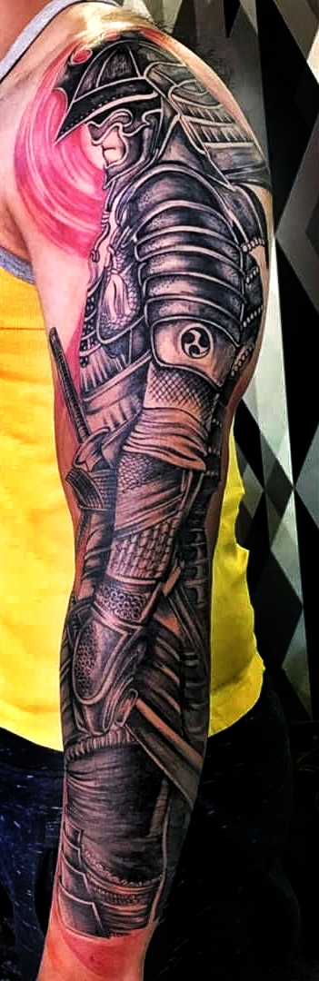 Japanese tattoo of a samurai by Verve