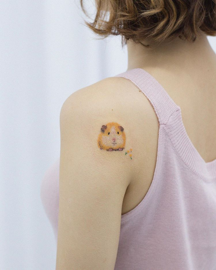 Guinea pig shoulder tattoo from dareumtattoo