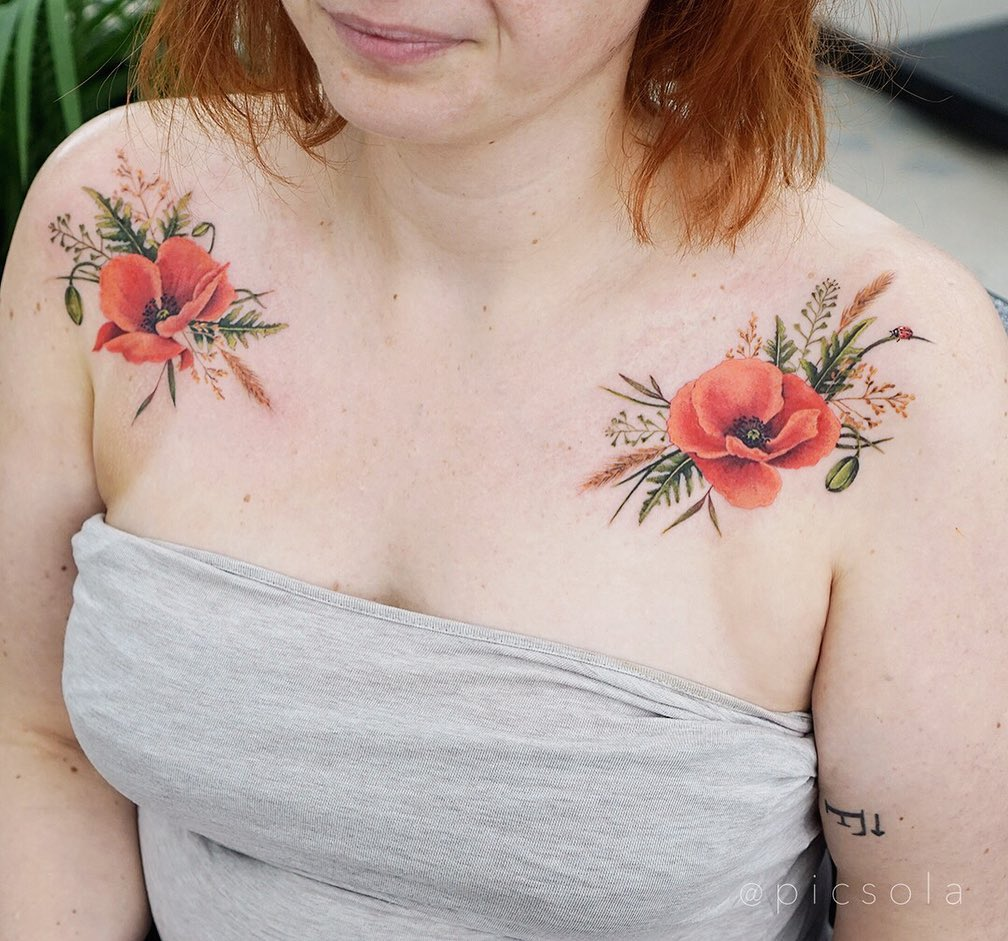 Floral shoulder tattoo from picsola