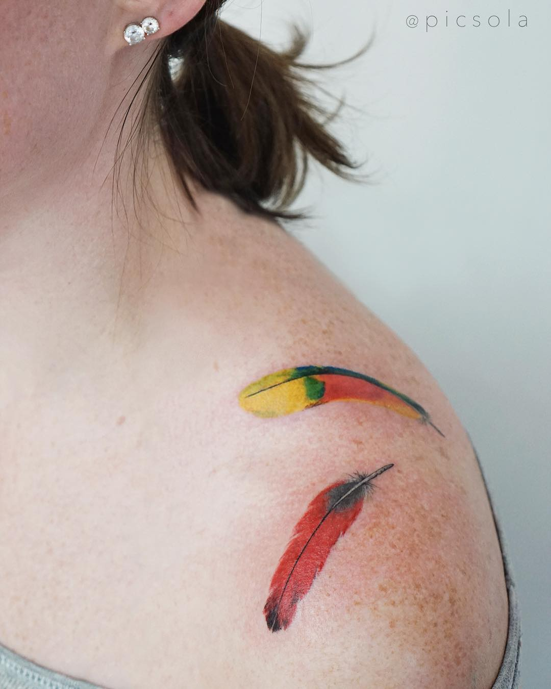 Feather shoulder tattoo from picsola