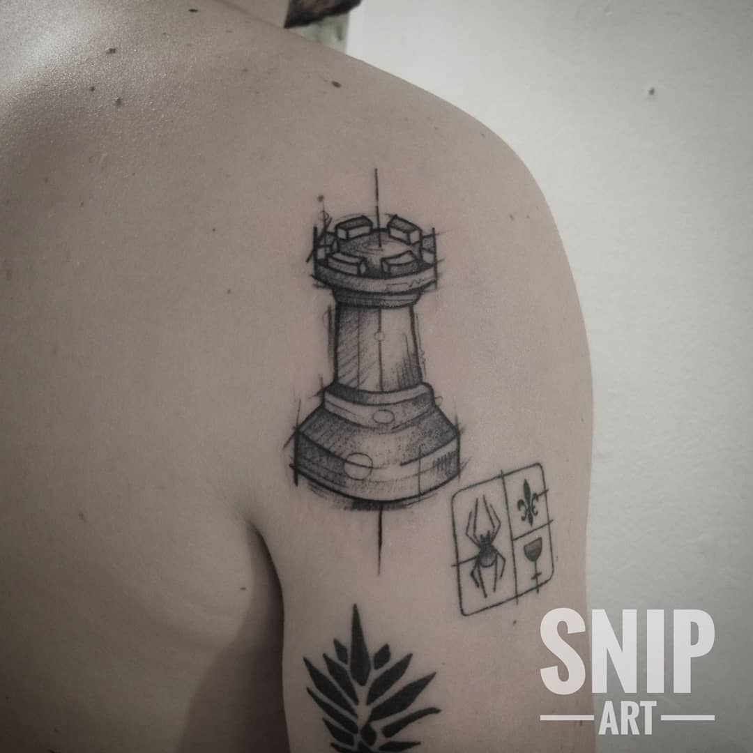 Chess shoulder tattoo by snip_art