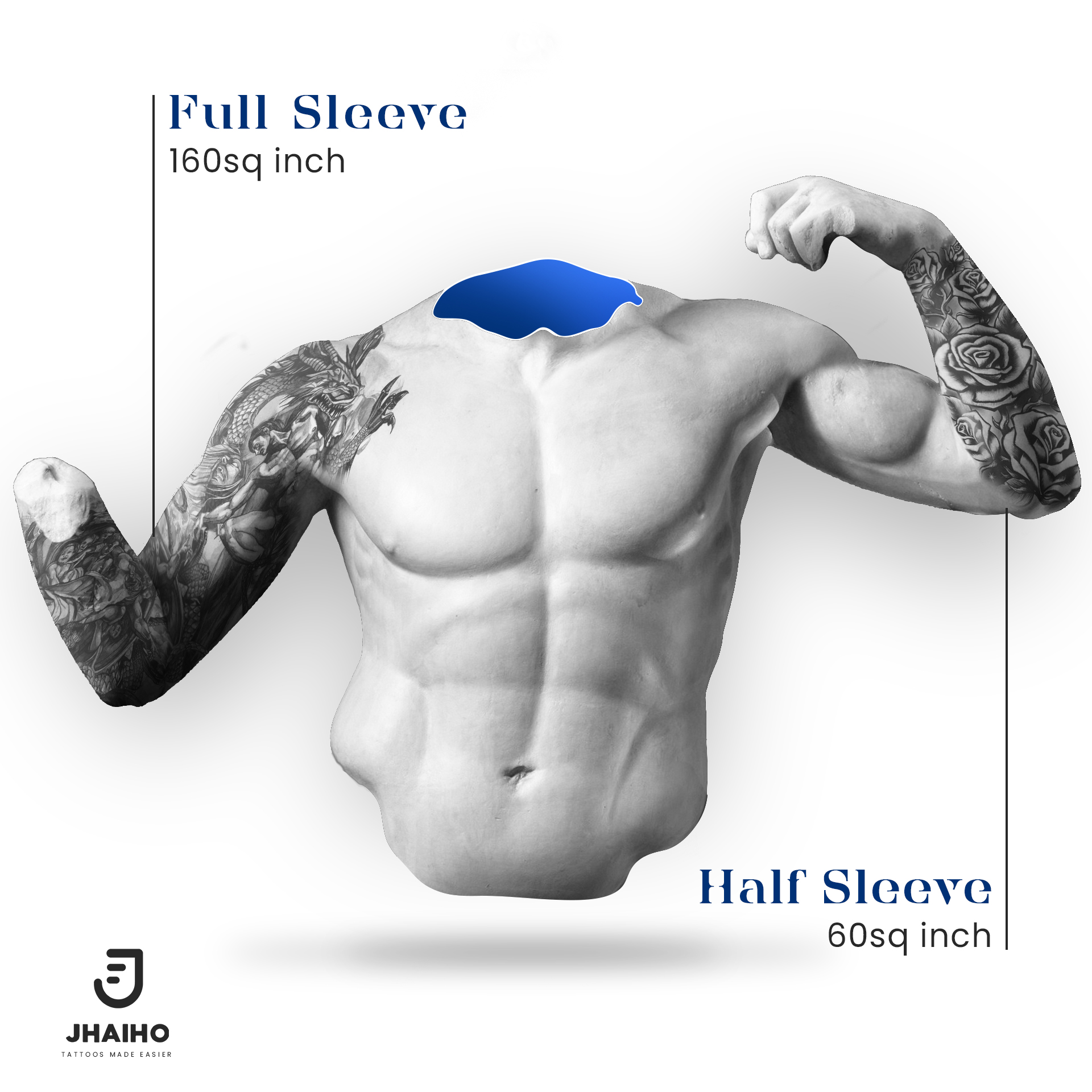 Tattoo sizing guide for full sleeve and half-sleeve