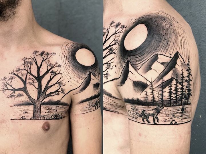 Landscape tattoo of a sun, tree, river, and mountain