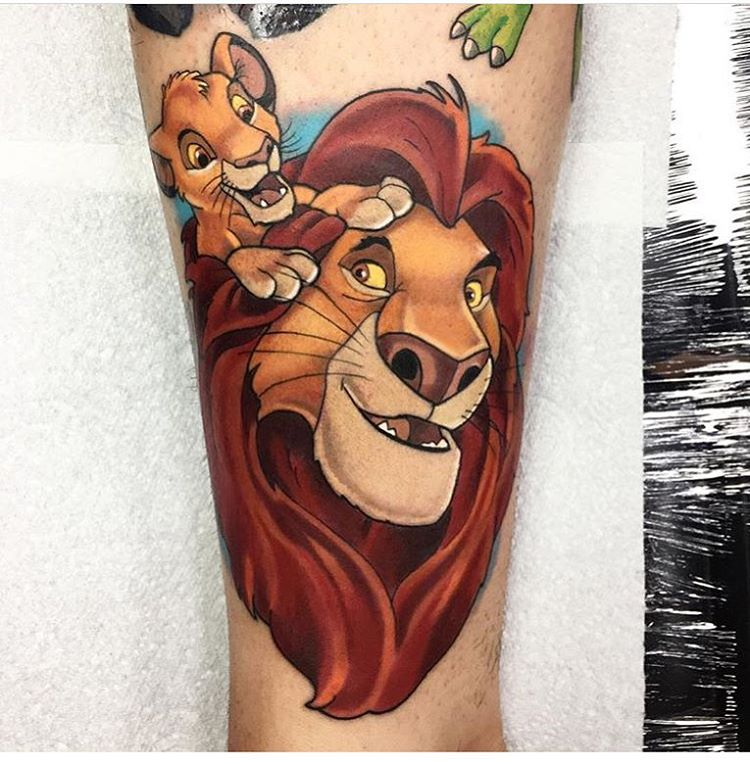 Illustrative classic Lion King tattoo of Mufasa and Simba by Jordan Baker