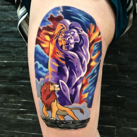 New school Lion King tattoo from Jordan Baker