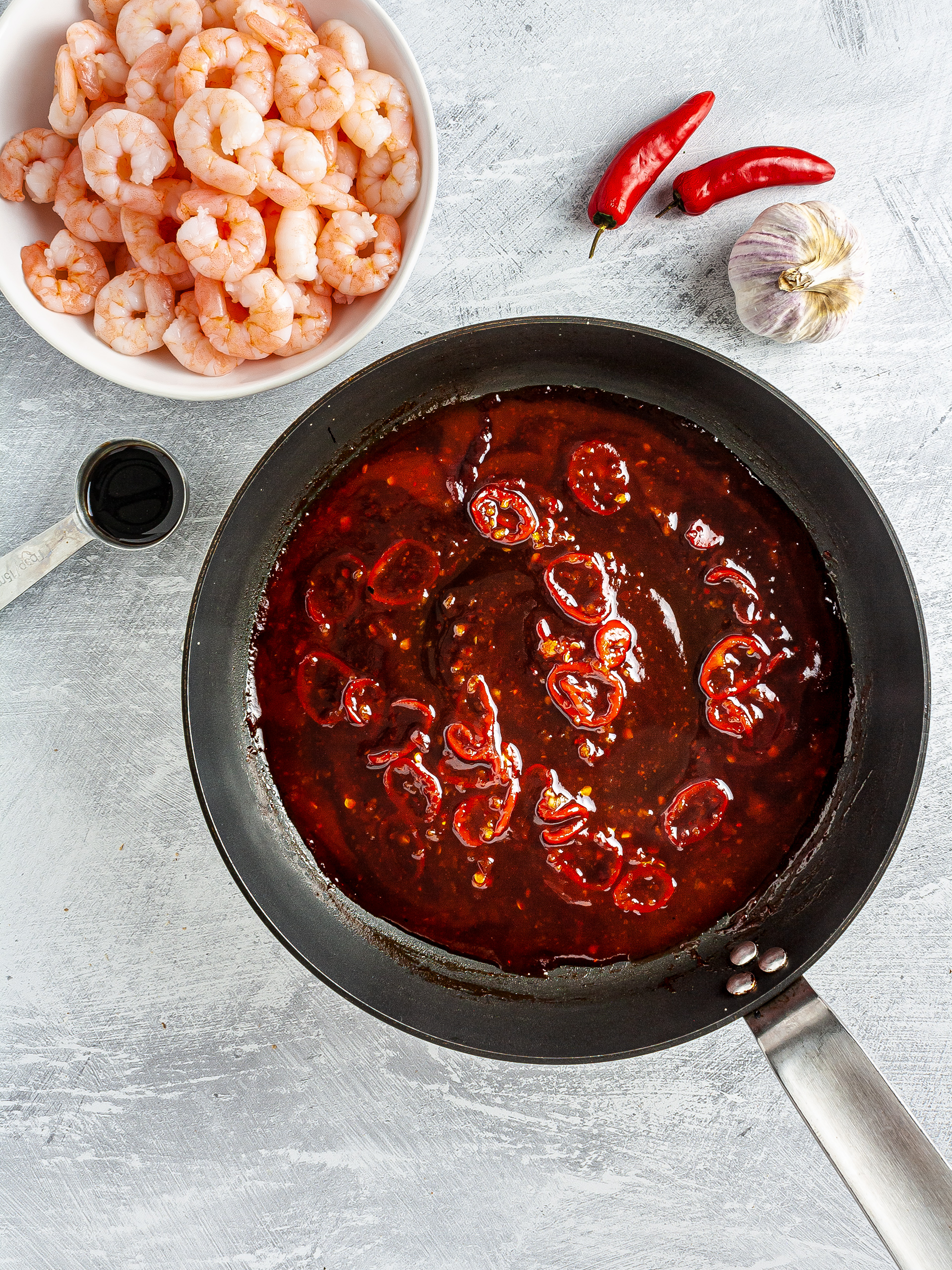Prawns and sweet chili sauce with soy, tomato, and honey