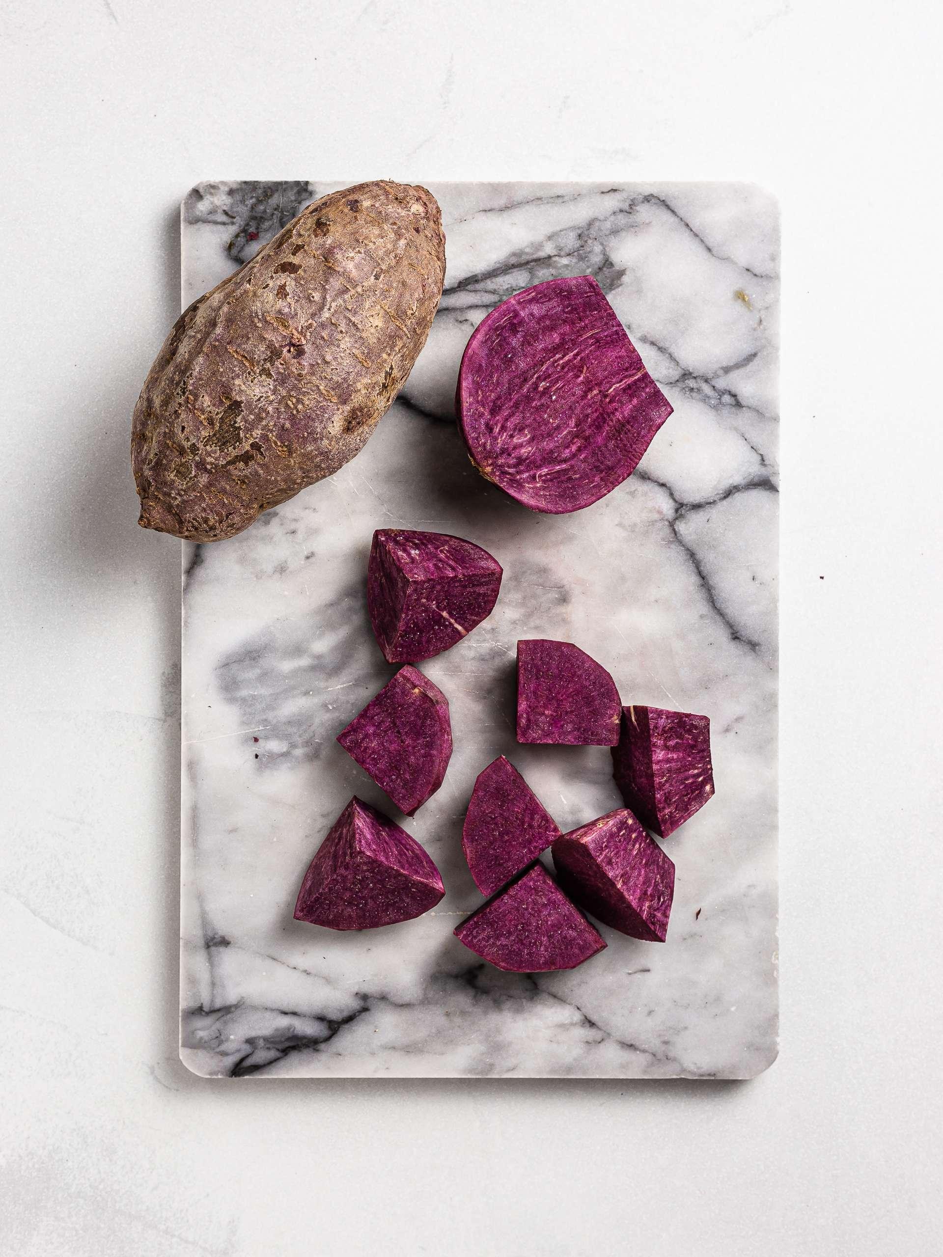 chopped ube purple yam