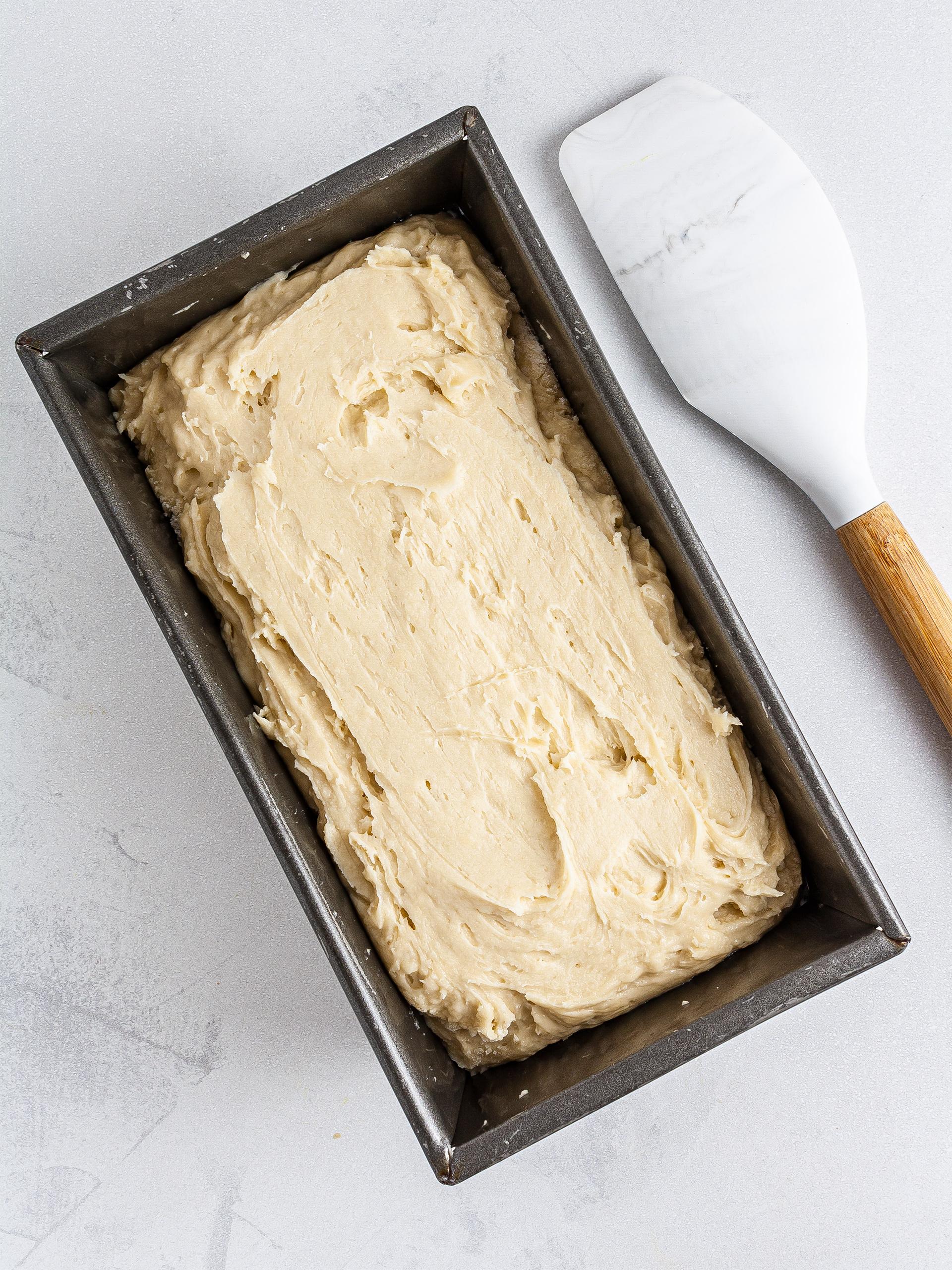 Brioche dough in a loaf tin