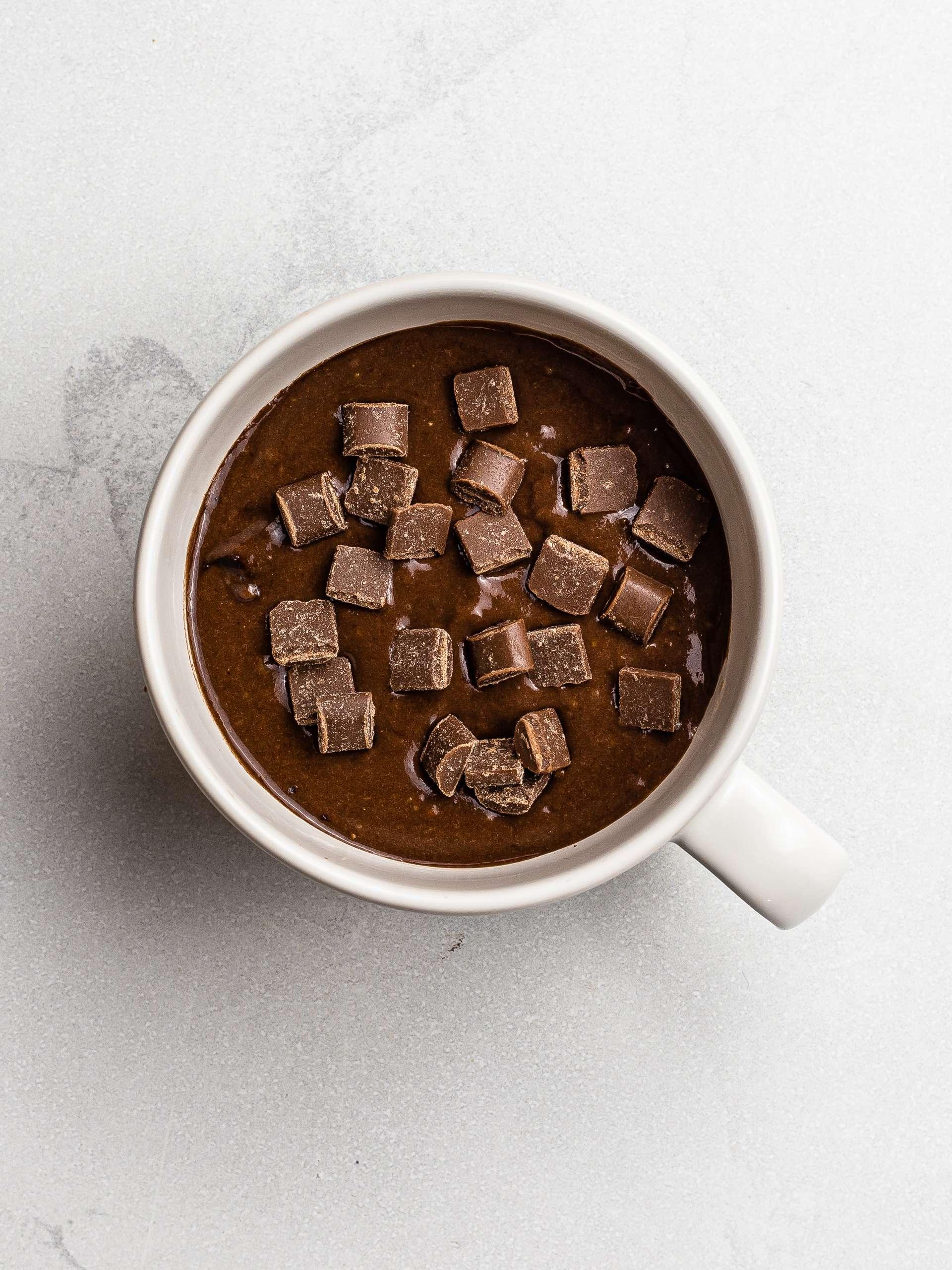 vegan chocolate mug brownie with chocolate chips