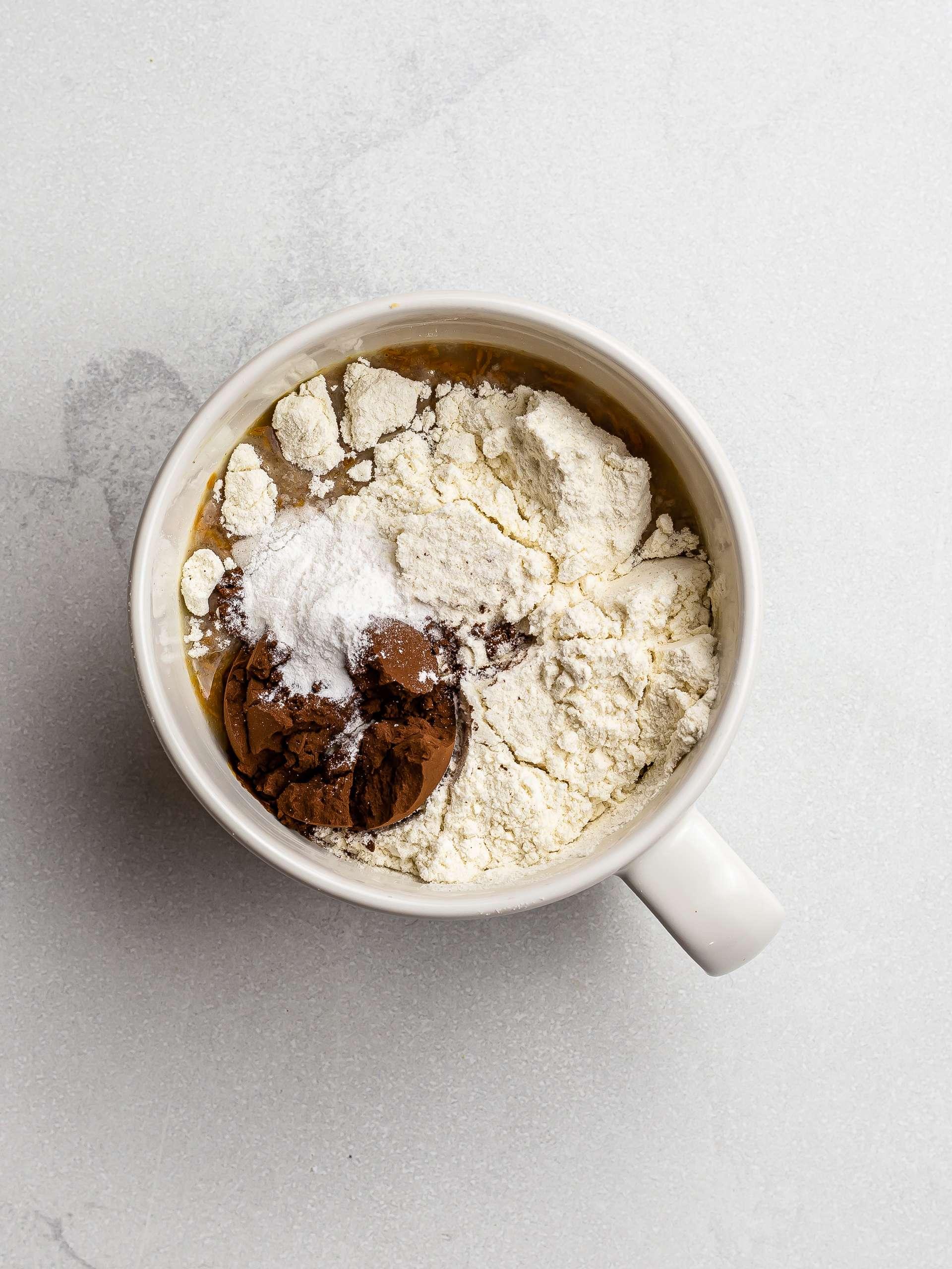 vegan mug brownie ingredients in a cup