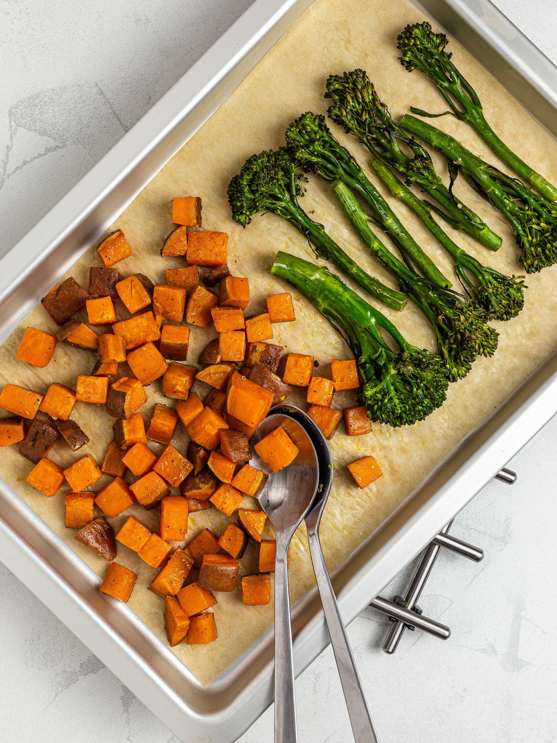 Roasted sweet potatoes and tenderstem broccoli