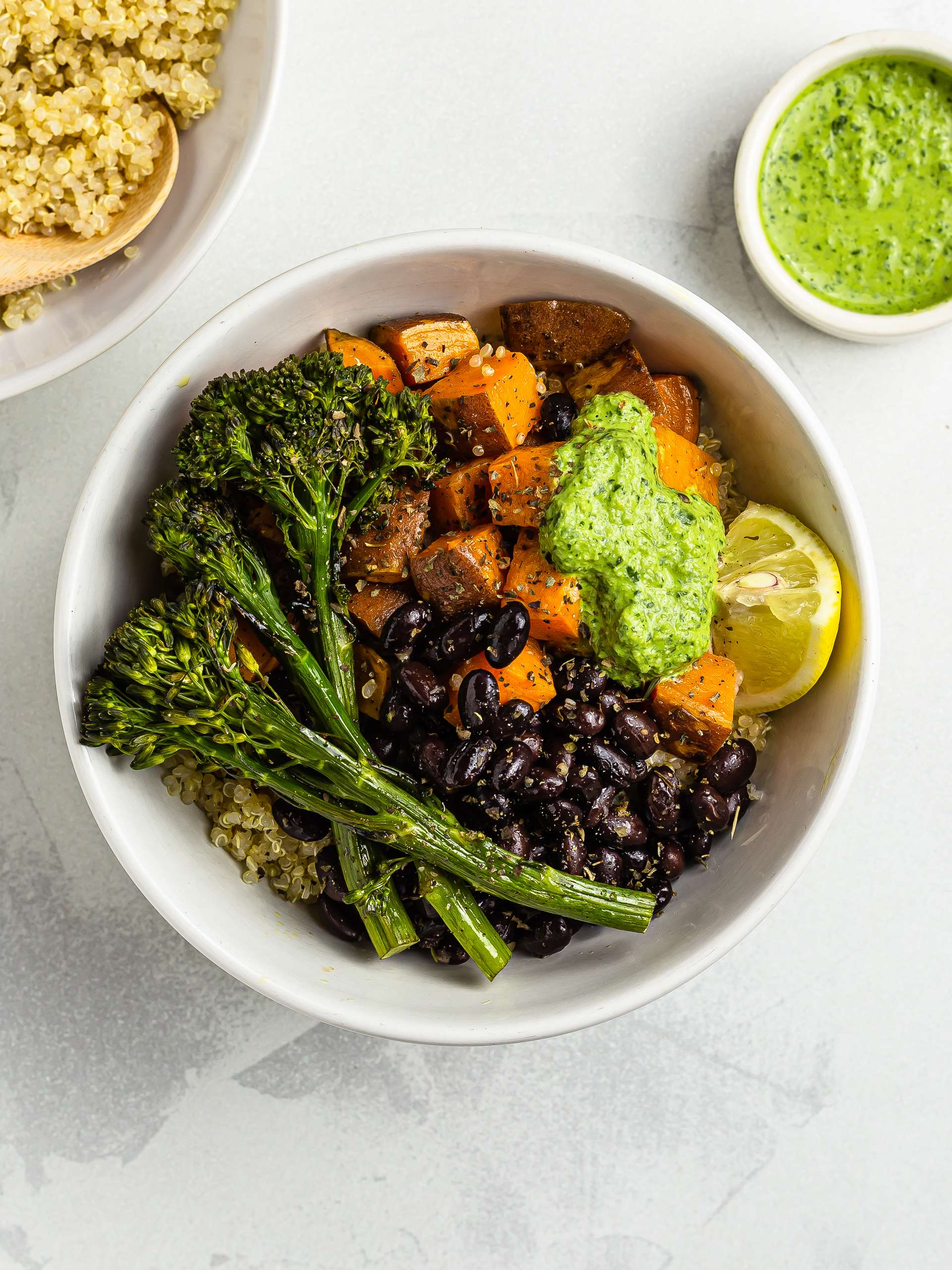 Sweet Potato Buddha Bowl with Tahini Pesto