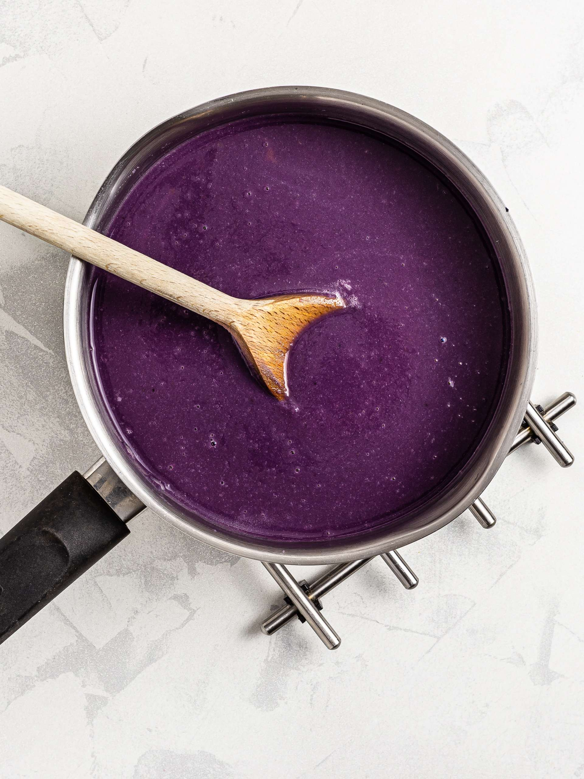 red cabbage soup blended into a velouté